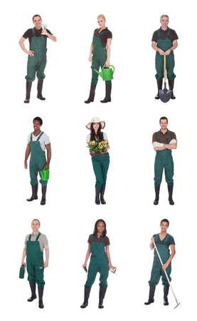 jardinero: Grupo de Multi Trabajadores jardinero raciales de pie sobre el fondo blanco