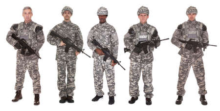 army man: Group Of Soldier Holding Rifle Over White Background