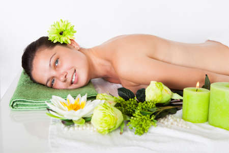 Beautiful Young Woman Relaxing In A Spa Stock Photo - 22160932