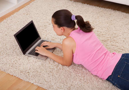 Young Beautiful Woman Using Laptop In Living Room Stock Photo - 22160936
