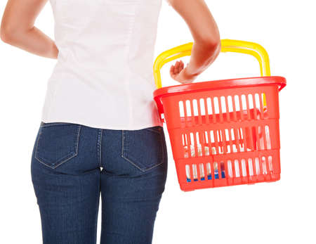 hypermarket: Rear view of a woman holding shopping basket Stock Photo