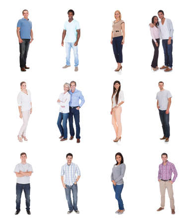 casual business: Large group of diverse people. Isolated on white