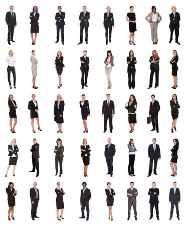 people in office: Group Of Multi Ethnic Business People Standing Over White Background