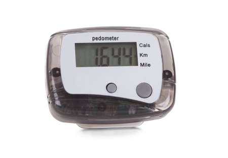 Close-up Of Digital Pedometer Isolated On White Background photo