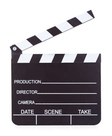 Close-up Of A Movie Production Clapper Board On White Background photo