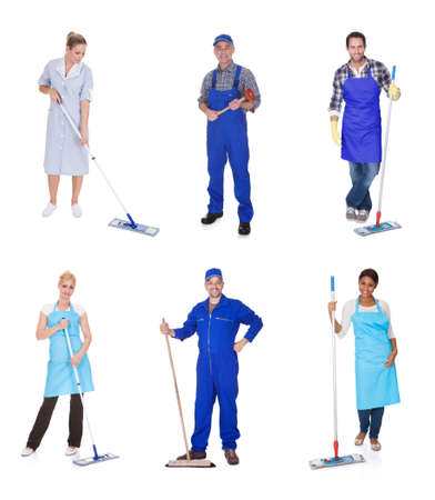 Cleaning team: Happy Group Of People Dressed In Casual Raising Arm isolated over white Stock Photo