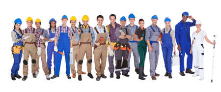 tradesman: Large group of diverse people. Isolated on white