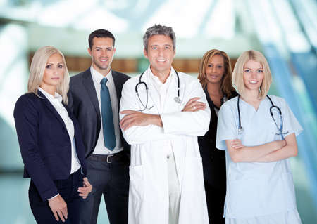 Portrait Of Happy Businesspeople And Medical Workers Indoor photo