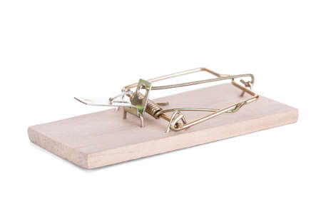 Wooden Mouse Trap Isolated isolated on white Stock Photo - 22564704
