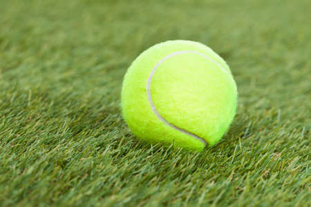 Close-up Of A Tennis Ball On Green Pitch