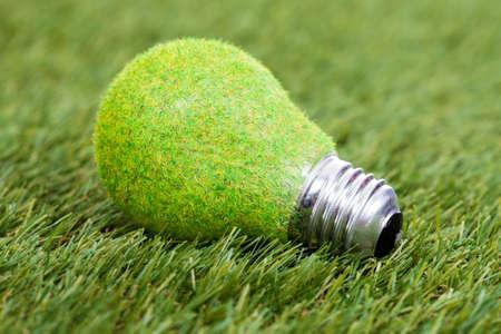 conservacion del agua: Primer Plano De bulbo ahorro de energía en la hierba verde Foto de archivo