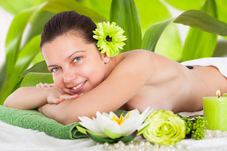 Beautiful Young Woman Relaxing In A Spa photo