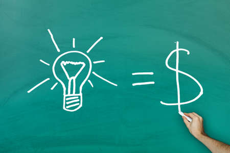 valuable: Ideas equal cash concept on green blackboard