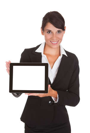 Happy Businesswoman Showing Laptop Over White Background Stock Photo - 22752964