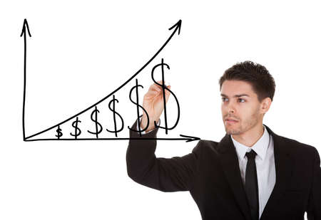 Man holding pen drawing dollar growth chart on white screen photo