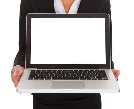 Happy Businesswoman Showing Laptop Over White Background photo