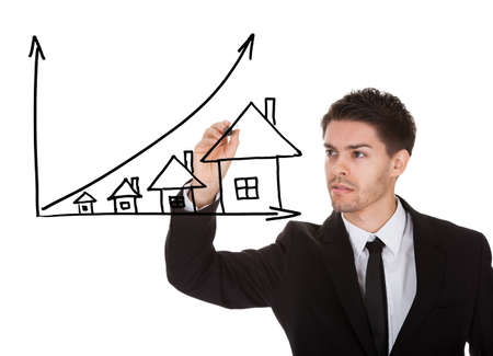 house prices: House prices growth concept on white screen