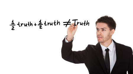 Half truth and half truth does not equal truth on white screen Zdjęcie Seryjne