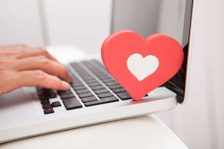 Young Happy Woman Showing Heart Shape While Using Laptop On Couch Stock Photo - 23345734