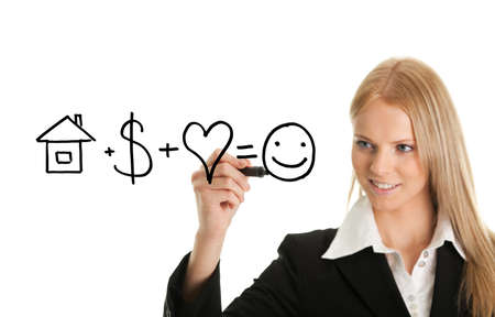 financial advisors: Woman holding pen drawing happiness formula on white screen Stock Photo