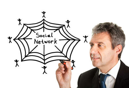 Man drawing social network concept on white screen Stock Photo - 23183240