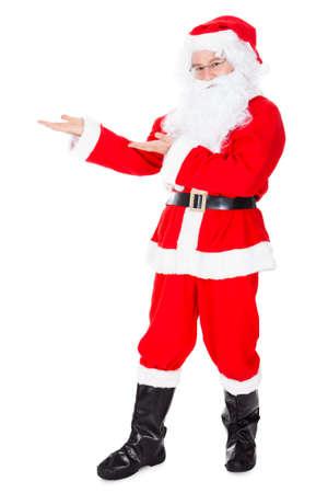 Happy Santa Claus With Gesturing Sign Over White Background