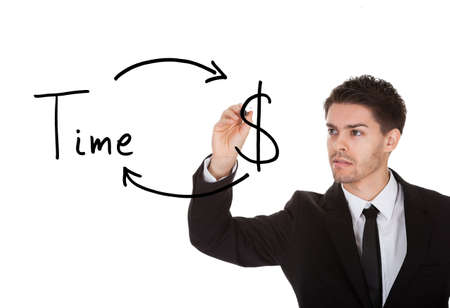 Time is money concept on white screen photo