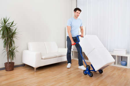 moving activity: Young Man Holding Trolley Loaded With Cardboard Box