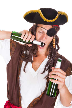 Pirate Standing On White Background Drinking Beer Stock Photo - 23778075