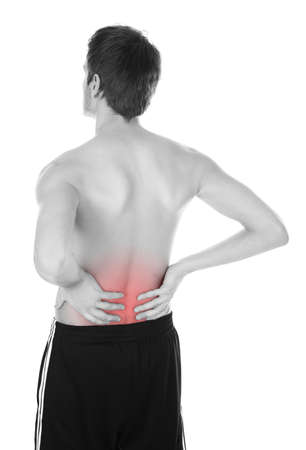 arthritis back: Shirtless Young Man Holding His Back Over White Background