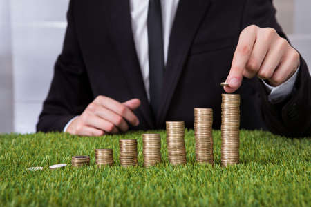 Close-up Of Businessman Stacking Coins Over Grass Imagens - 24123576