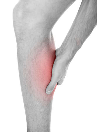 leg injury: Close-up Of Mans Leg Suffering From Injury On White Background