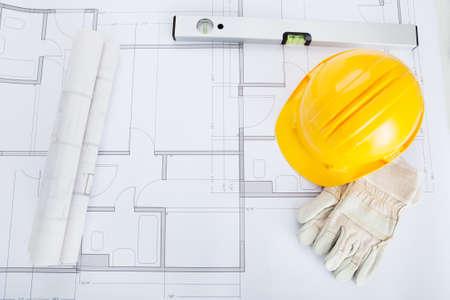 Bau Helm Und Schutzhandschuhe Bau Des Gebaudes Layout Aufbauend