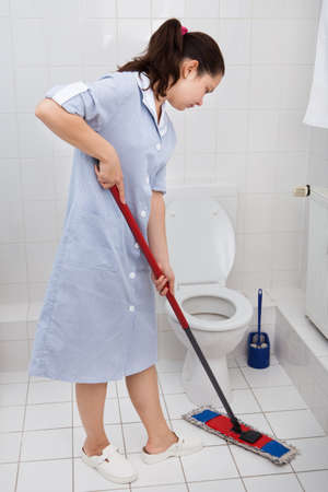 house maid: Portrait Of Young Maid In Uniform Cleaning Toilet Stock Photo