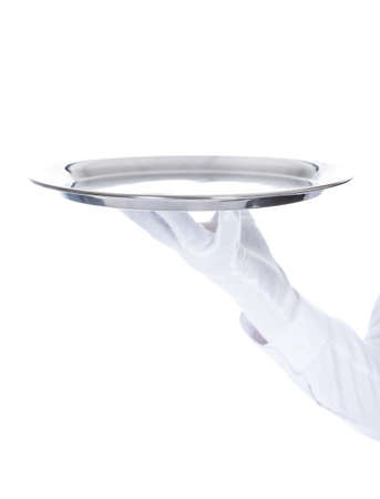 Close-up Of A Waiter Carrying An Empty Tray Over White Background photo