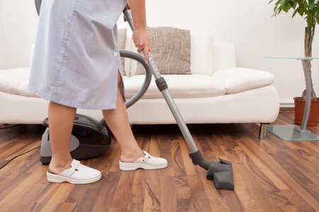 Young Maid Cleaning Floor With Handheld Vacuum Cleaner photo