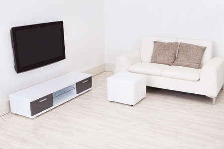 Modern Living Room With Television And Sofa photo