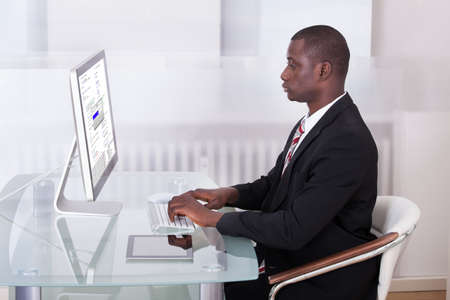 Portrait Of Young African Businessman Using Computer Stock Photo - 25096130