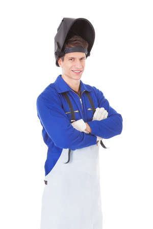 welder: Portrait Of A Male Welder With Protective Workwear Over White Background Stock Photo