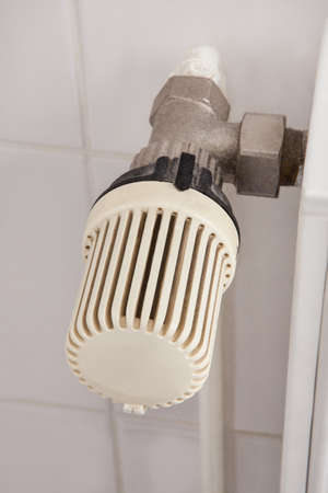 Close-up Of A Thermostatic Radiator In Bathroom photo