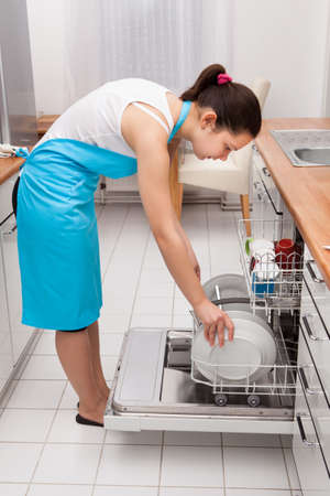 High Angle View Of Woman Placing Utensils In Dishwasher Stock Photo - 25149315