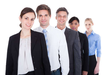 people in a row: Group Of Happy Businesspeople Standing In A Row Over White Background