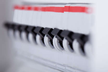 cabinet: Close-up Photo Of Switches On Distribution Board Stock Photo