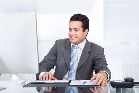 Portrait Of Young Businessman Using Computer At Office Stock Photo - 25340277