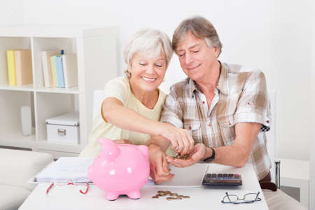 debt management: Portrait Of Smiling Senior Couple Calculating Coins In The Pink Piggybank