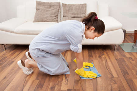 Portrait Of Young Maid Cleaning Hardwood Floor With Cloth photo