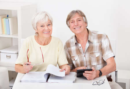Portrait Of Happy Senior Couple Calculating Budget At Home photo