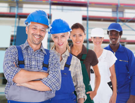 representing: Group Of People Representing Diverse Professions At Construction Site