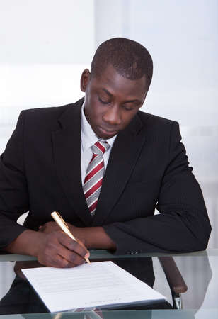 finance director: Portrait Of A An African Young Businessman Signing Contract