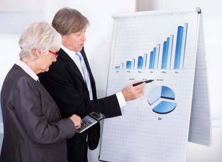 Mature Businessman And Businesswoman Calculating With Calculator In Front Of Chart On Flipchart photo